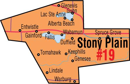 A map of the Alberta Union of Provincial Employees' Stony Plain/Spruce Grove Area Council.