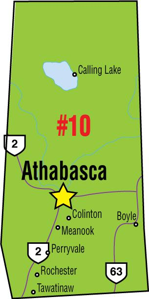 A map of the Alberta Union of Provincial Employees' Athabasca Area Council.