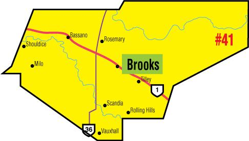 A map of the Alberta Union of Provincial Employees' Brooks Area Council.