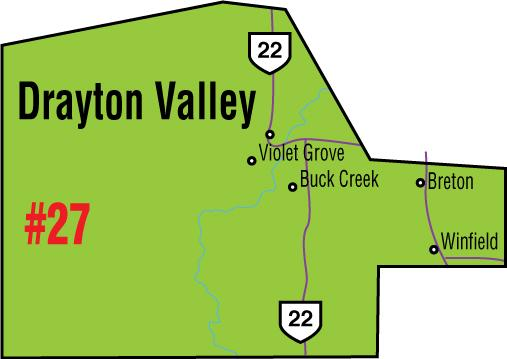 A map of the Alberta Union of Provincial Employees' Drayton Valley Area Council.