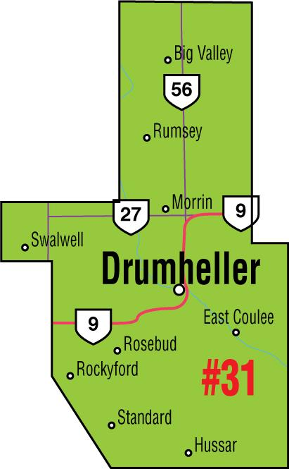 A map of the Alberta Union of Provincial Employees' Drumheller Area Council
