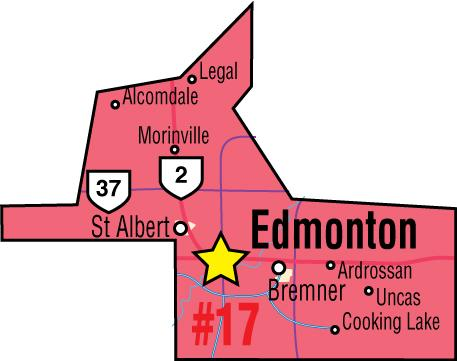 A map of the Alberta Union of Provincial Employees' Edmonton Area Council.