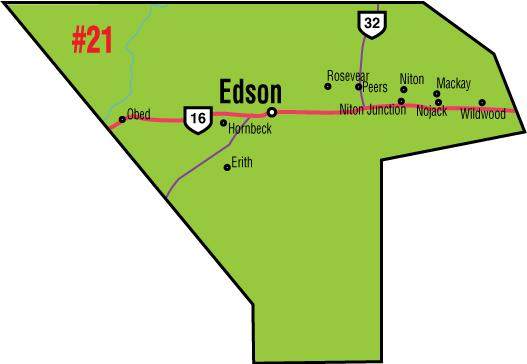 A map of the Alberta Union of Provincial Employees' Edson Area Council.