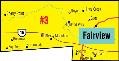 A map of the Alberta Union of Provincial Employees' Fairview Area Council.