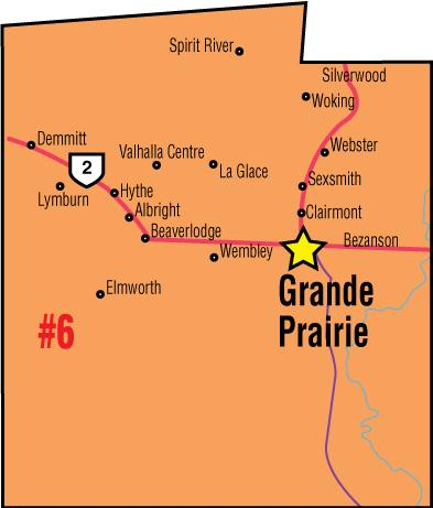 A map of the Alberta Union of Provincial Employees' Grande Prairie Area Council.
