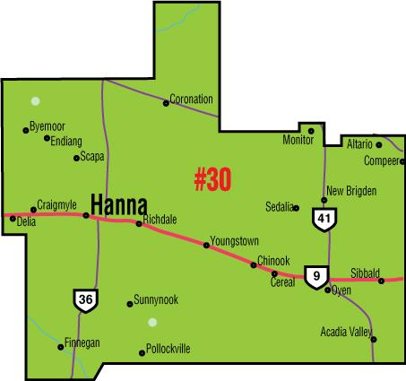 A map of the Alberta Union of Provincial Employees' Hanna/Youngstown Area Council.