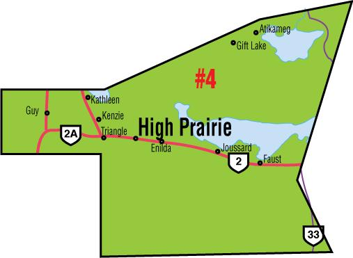 A map of the Alberta Union of Provincial Employees' High Prairie Area Council.
