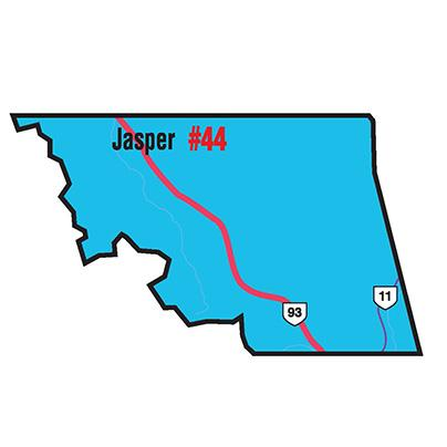 A map of the Alberta Union of Provincial Employees' Jasper Area Council.