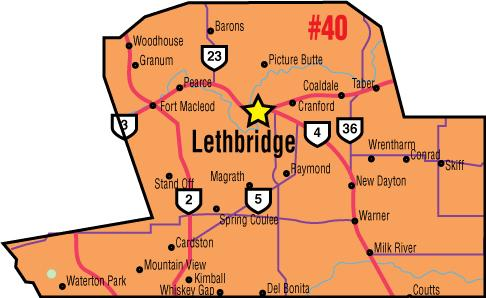 A map of the Alberta Union of Provincial Employees' Lethbridge Area Council.