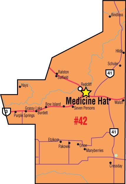 A map of the Alberta Union of Provincial Employees' Medicine Hat Area Council.