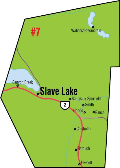 A map of the Alberta Union of Provincial Employees' Slave Lake Area Council.