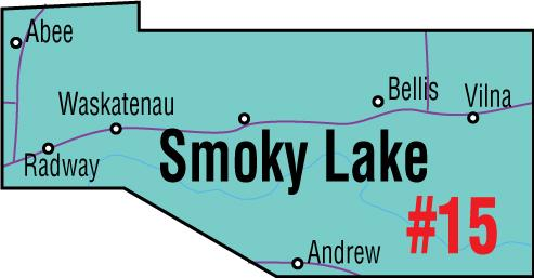A map of the Alberta Union of Provincial Employees' Smoky Lake Area Council.