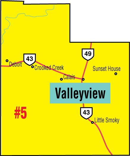 A map of the Alberta Union of Provincial Employees' Valleyview Area Council.