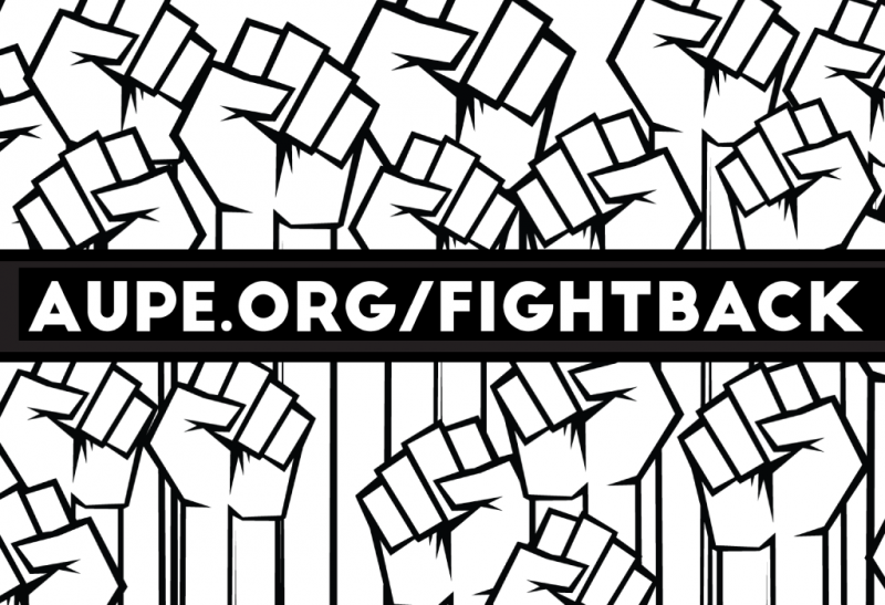 The banner logo for the AUPE Fight Back campaign which includes an image of clenched fists with the text of AUPE.ORG/FIGHTBACK written over it.