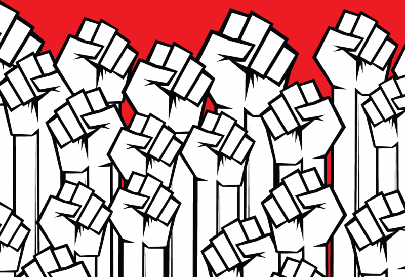 AUPE Fight Back logo - raised fists against a red background