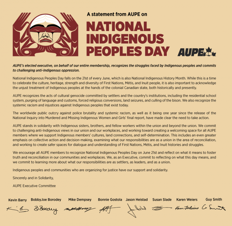 AUPE Executive Statement: National Indigenous Peoples Day 2020