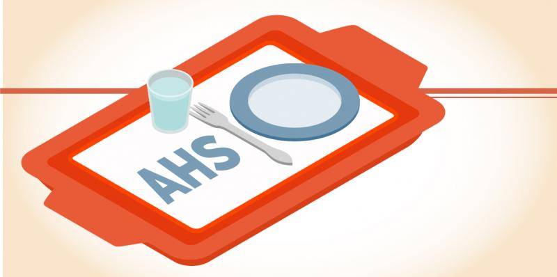 "A serving tray has an empty plate and cutlery on it. The tray is emblazoned with the letters ""AHS"""
